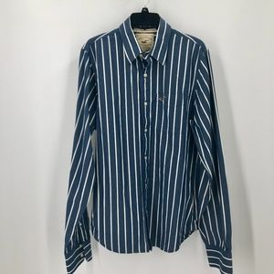 Hollister Long Sleeve Blue Stripe Button Up Shirt